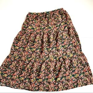 Wild Fable floral midi skirt tiered extra large